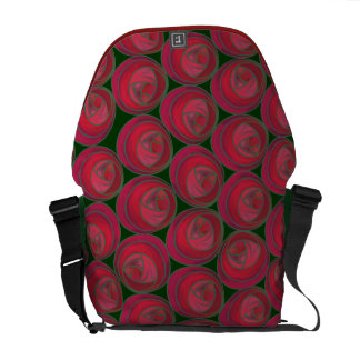 Foral Art Nouveau Roses Pattern in Pinks & Reds Messenger Bags