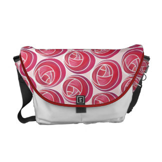 Foral Art Nouveau Roses Pattern in Pinks & Reds Messenger Bag