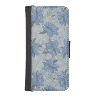 Foral blue lush flowers wedding pattern iPhone SE/5/5s wallet