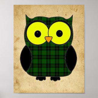 Forbes Tartan Plaid Owl Poster