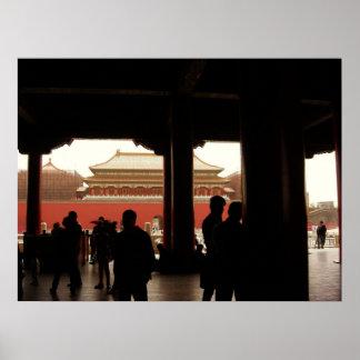 Forbidden city china poster vintage art pillars