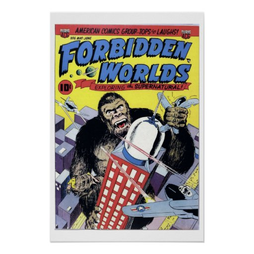 Classic Book Covers Posters ~ Forbidden worlds vintage comic book cover poster zazzle