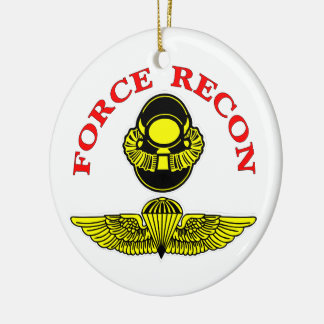 Force Recon Bubblehead Jumpwings Double-Sided Ceramic Round Christmas Ornament