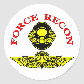 Force Recon Bubblehead Jumpwings Classic Round Sticker