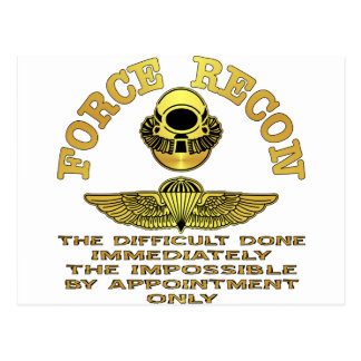 Force Recon Difficult Done Immediately Postcards