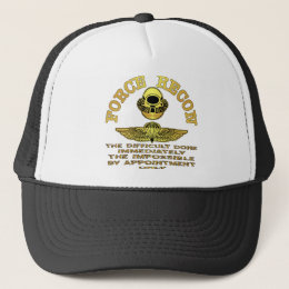 Force Recon Difficult Done Immediately Trucker Hat