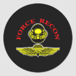 Force Recon Diver Jumpblack Round Stickers