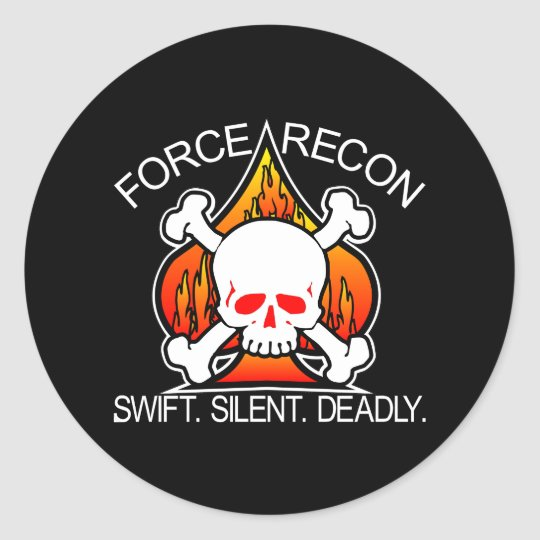 Force Recon Skull Black Classic Round Sticker