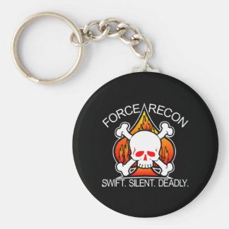 Force Recon Skull Black Keychain