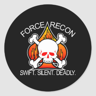Force Recon Skull Black Round Stickers