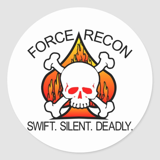Force Recon Skull Classic Round Sticker