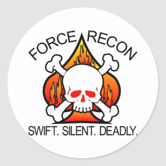 Force Recon Skull Round Stickers