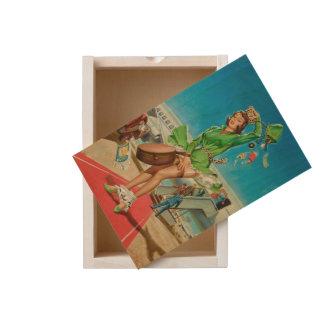 Forced landing retro pinup girl wooden keepsake box