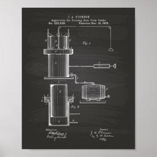 Forcing Beer 1879 Patent Art - Chalkboard Poster