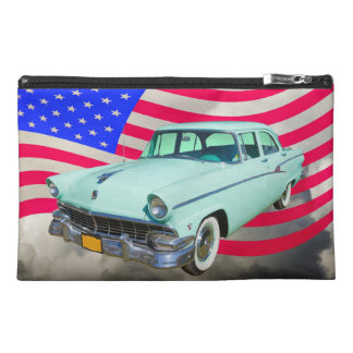 Ford 1956 Custom Line Car And American Flag Travel Accessories Bag