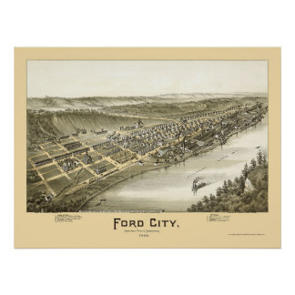Ford City, PA Panoramic Map - 1896 Poster