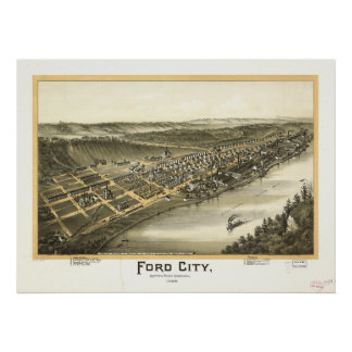 Ford City Pennsylvania 1896 Antique Panoramic Map Poster