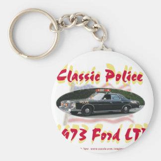 Ford clásico 1973 de la policía LTD Llavero Redondo Tipo Pin