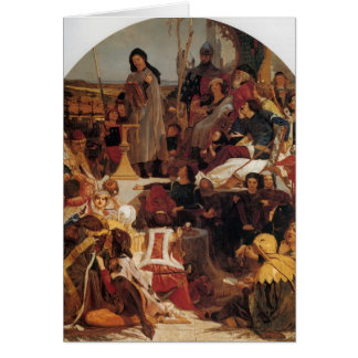 Ford Madox Brown- Chaucer at Court of Edward III Greeting Card
