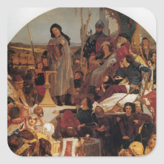 Ford Madox Brown- Chaucer at Court of Edward III Square Stickers