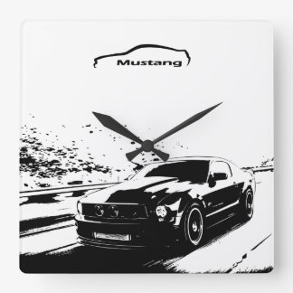 Ford Mustang rolling shot Square Wall Clock