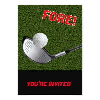 FORE with Golf Club Head and Ball Card