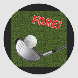 FORE with Golf Club Head and Ball Classic Round Sticker
