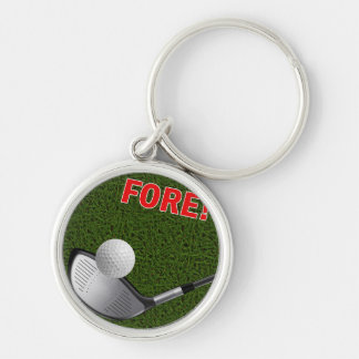 FORE with Golf Club Head and Ball Keychain