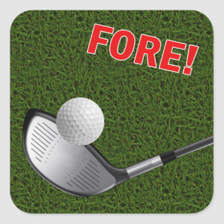 FORE with Golf Club Head and Ball Square Sticker