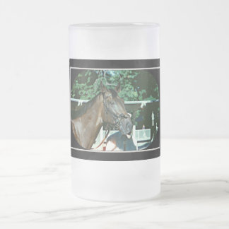 Forego Racehorse 1977 Frosted Glass Beer Mug