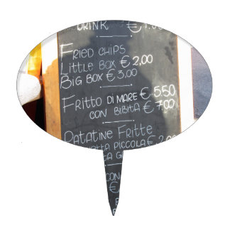 Foreground poster of the menu in a typical Italian Cake Toppers