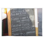 Foreground poster of the menu in a typical Italian Cloth Place Mat