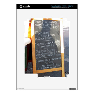Foreground poster of the menu in a typical Italian iPad 3 Skin