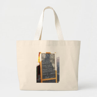 Foreground poster of the menu in a typical Italian Jumbo Tote Bag