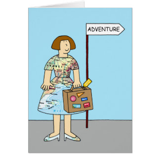 Foreign Adventure Bon Voyage Female. Greeting Card