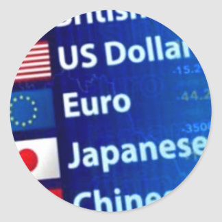 Foreign Currencies Euro Dollar Yen Yuan Classic Round Sticker
