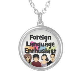 Foreign Language Enthusiast Silver Plated Necklace