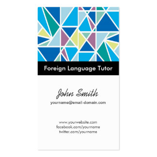 Foreign Language Tutor - Blue Abstract Geometry Double-Sided Standard Business Cards (Pack Of 100)