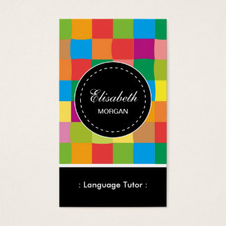 Foreign Language Tutor- Colorful Sqaure Pattern Business Card