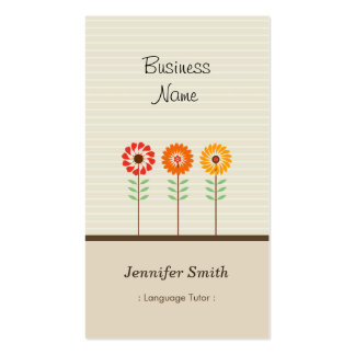 Foreign Language Tutor - Cute Floral Theme Double-Sided Standard Business Cards (Pack Of 100)