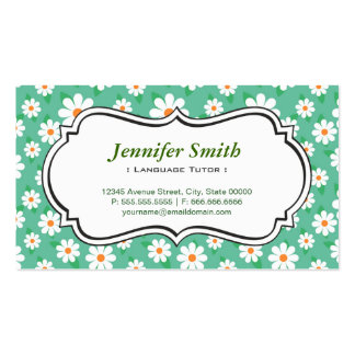 Foreign Language Tutor - Elegant Green Daisy Double-Sided Standard Business Cards (Pack Of 100)