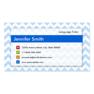 Foreign Language Tutor - Modern Blue Chevron Double-Sided Standard Business Cards (Pack Of 100)