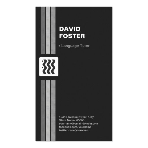 Foreign Language Tutor - Premium Double Sided Business Card