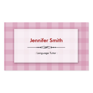 Foreign Language Tutor - Pretty Pink Squares Double-Sided Standard Business Cards (Pack Of 100)