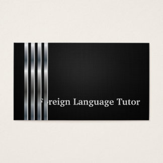 Foreign Language Tutor Professional Black Silver Business Card