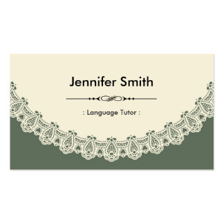 Foreign Language Tutor - Retro Chic Lace Double-Sided Standard Business Cards (Pack Of 100)