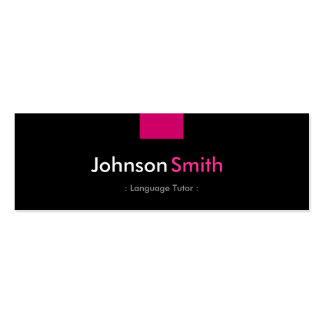 Foreign Language Tutor - Rose Pink Compact Double-Sided Mini Business Cards (Pack Of 20)