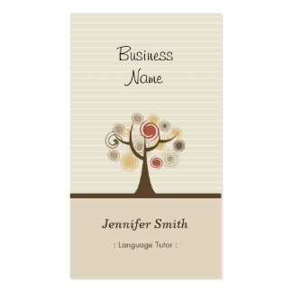Foreign Language Tutor - Stylish Natural Theme Double-Sided Standard Business Cards (Pack Of 100)