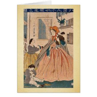 Foreigners love for children by Utagawa,Yoshikazu Greeting Card
