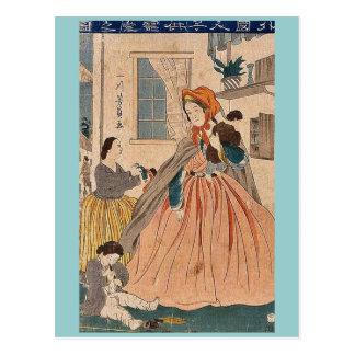 Foreigners love for children by Utagawa,Yoshikazu Postcard